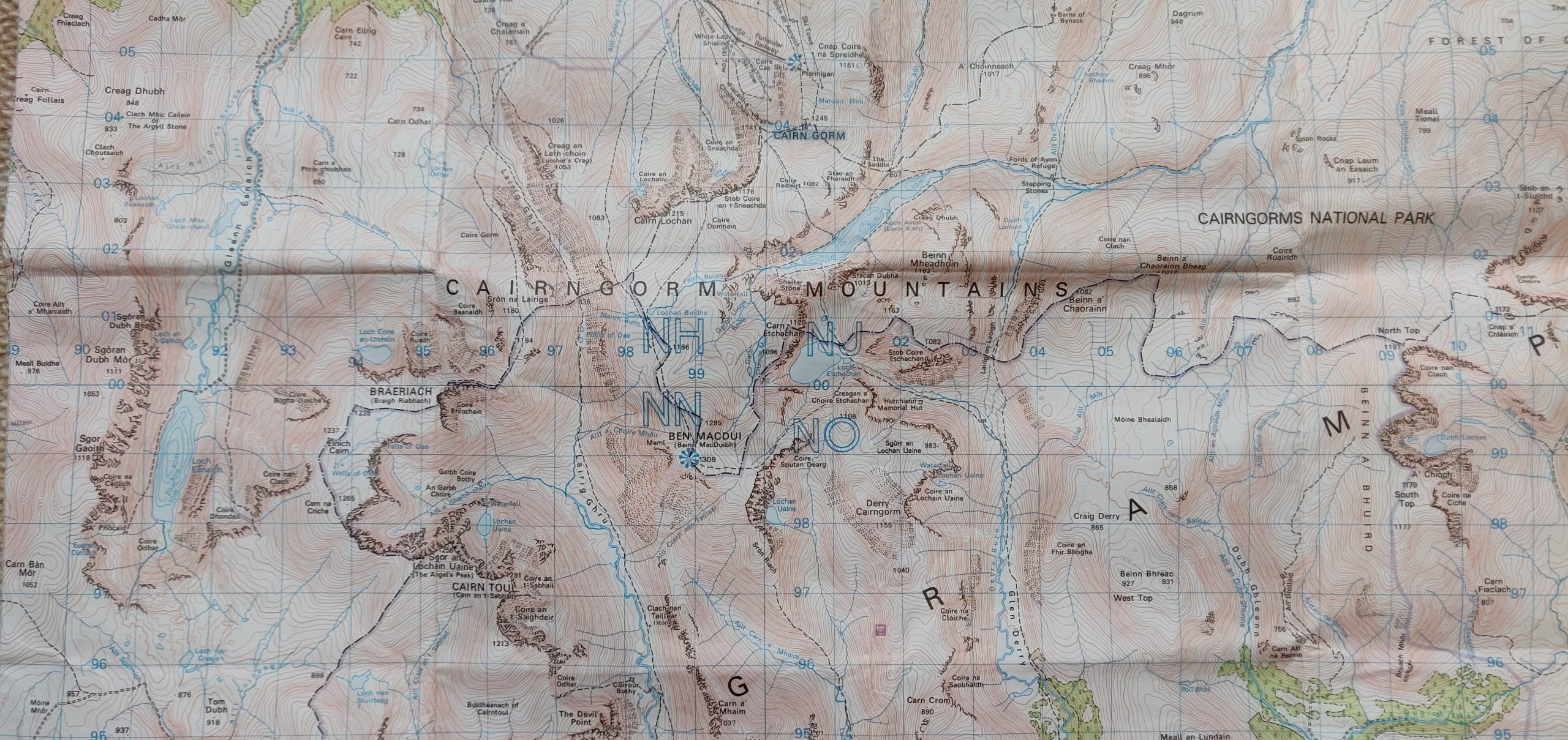 OS map of Cairngorm Mountains