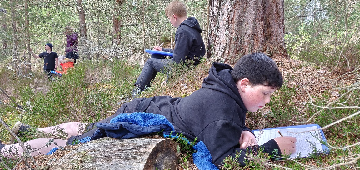Teenagers doing outdoor writing activities