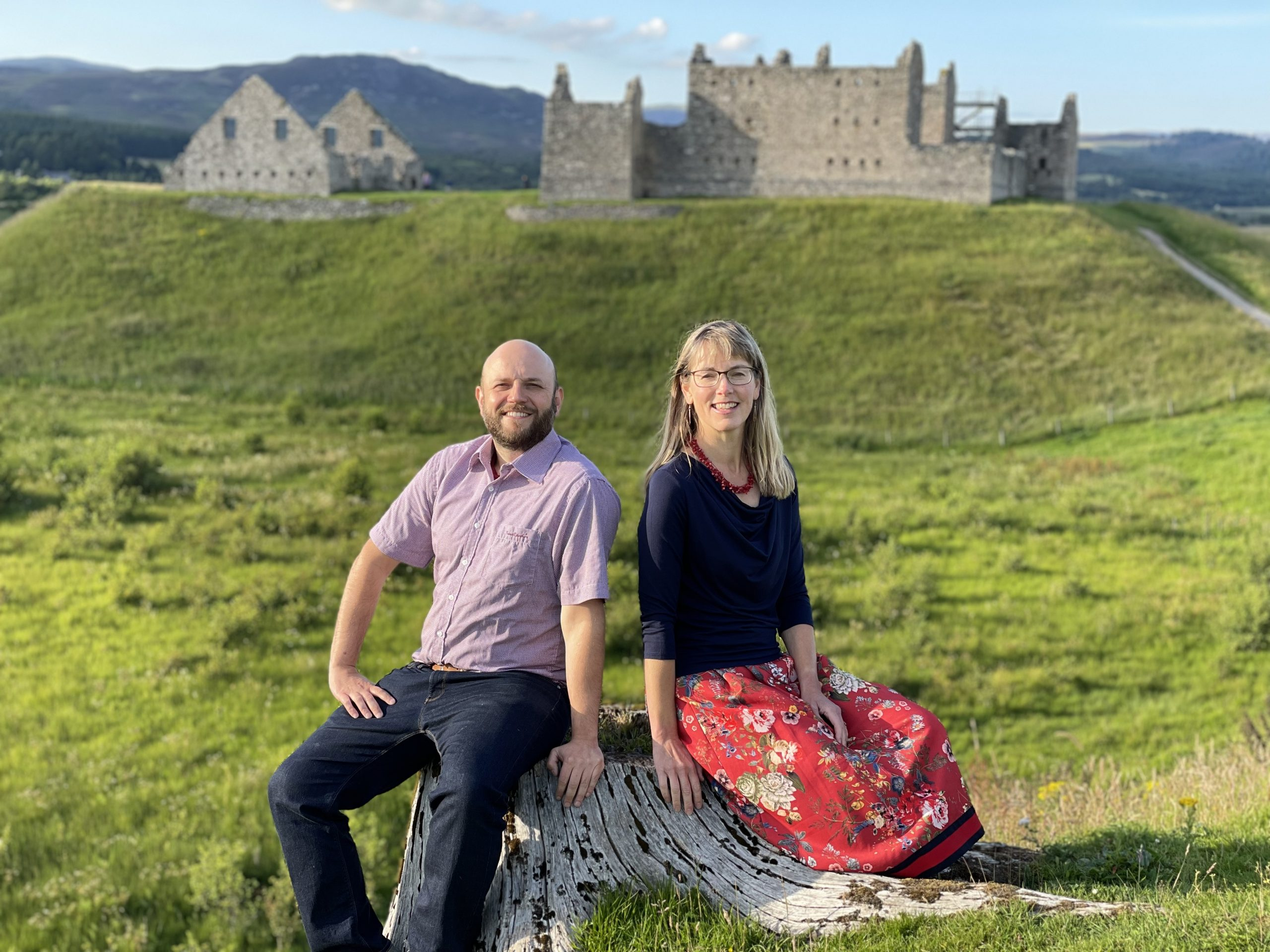 Hamish Napier and Merryn Glover in front of Ruthven Barracks